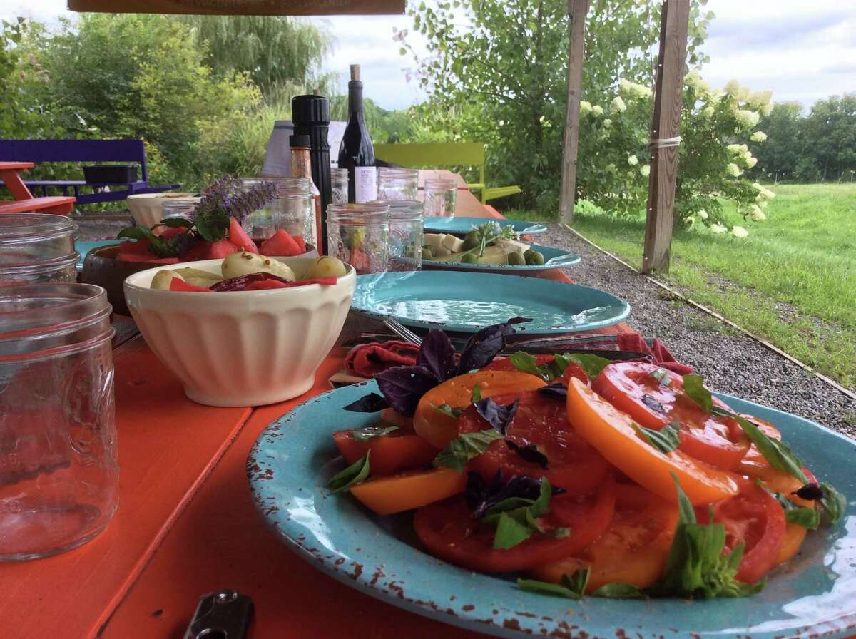 The lunch table is set for a farm lunch