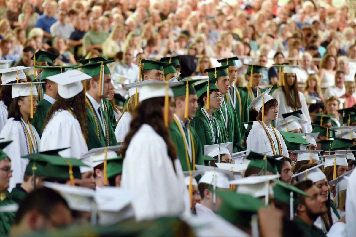 Students stand for recognition of their outstanding achievement during Shenendehowa's Graduation on Thursday, June 27, 2019 at the Saratoga Performing Arts Center in Saratoga Springs, NY. (Phoebe Sheehan/Times Union)