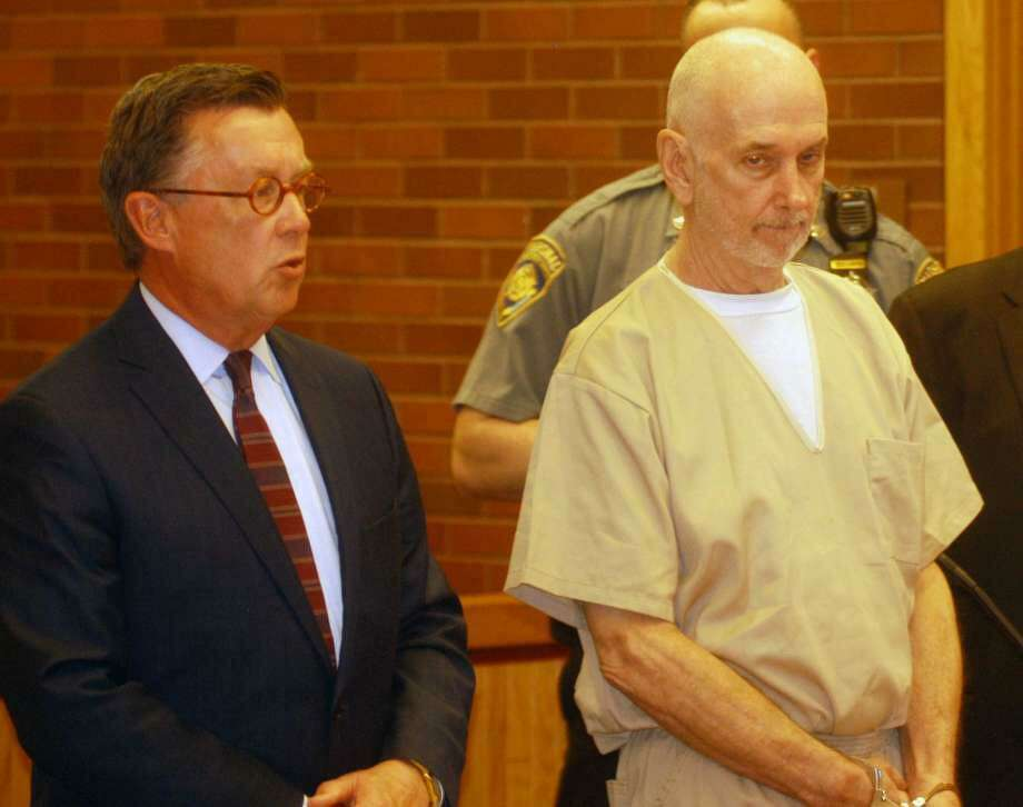 James Maharg, right, charged with the murder of his husband in their Sherman home, in Danbury Superior Court Wednesday, May 8, 2019. Photo: Rob Ryser / Hearst Connecticut Media