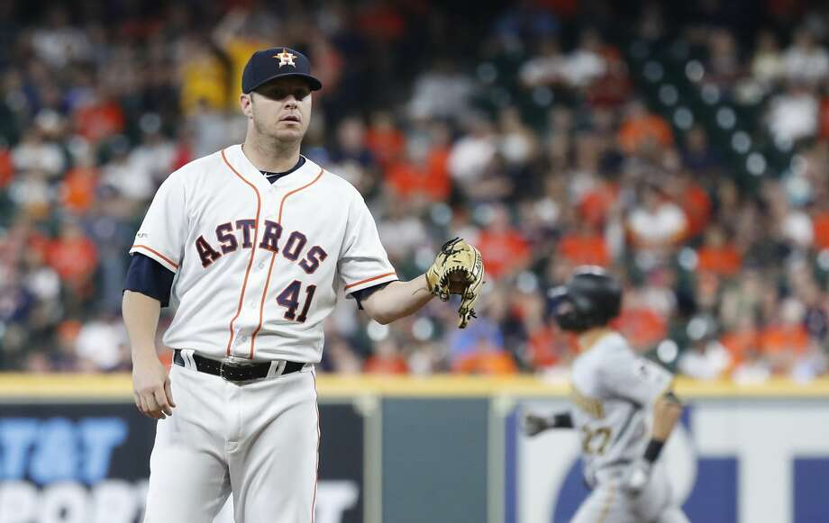 PHOTOS: Houston Astros 2019 fan giveaways Houston Astros starting pitcher Brad Peacock (41) reacts after giving up a home run to Pittsburgh Pirates Kevin Newman during the first inning of an MLB baseball game at Minute Maid Park, Thursday, June 27, 2019, in Houston. >>>See the remaining Astros fan freebies at Minute Maid Park this season ... Photo: Karen Warren/Staff Photographer