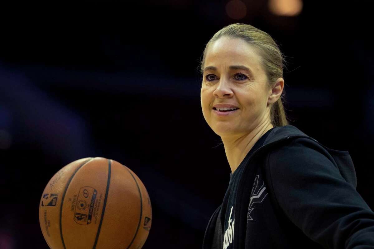 Assistant coach Becky Hammon of the San Antonio Spurs passes the ball during warms up prior to the game against the Philadelphia 76ers at the Wells Fargo Center on January 23, 2019 in Philadelphia, Pennsylvania.