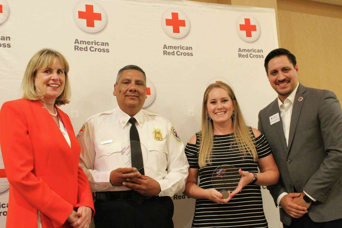 The American Red Cross awarded the Richmond Fire Department with the Partner Life Saving Award in connection with a December 2018 house fire where the occupants were saved by a smoke detector installed earlier by the fire department. From left are Red Cross Board of Director Barbara Vilutis, Richmond Fire Marshal Albert Cantu, Fort Bend Serv Pro Jessica Bennetsen and Red Cross Regional Executive Director Henry VanvePette.
