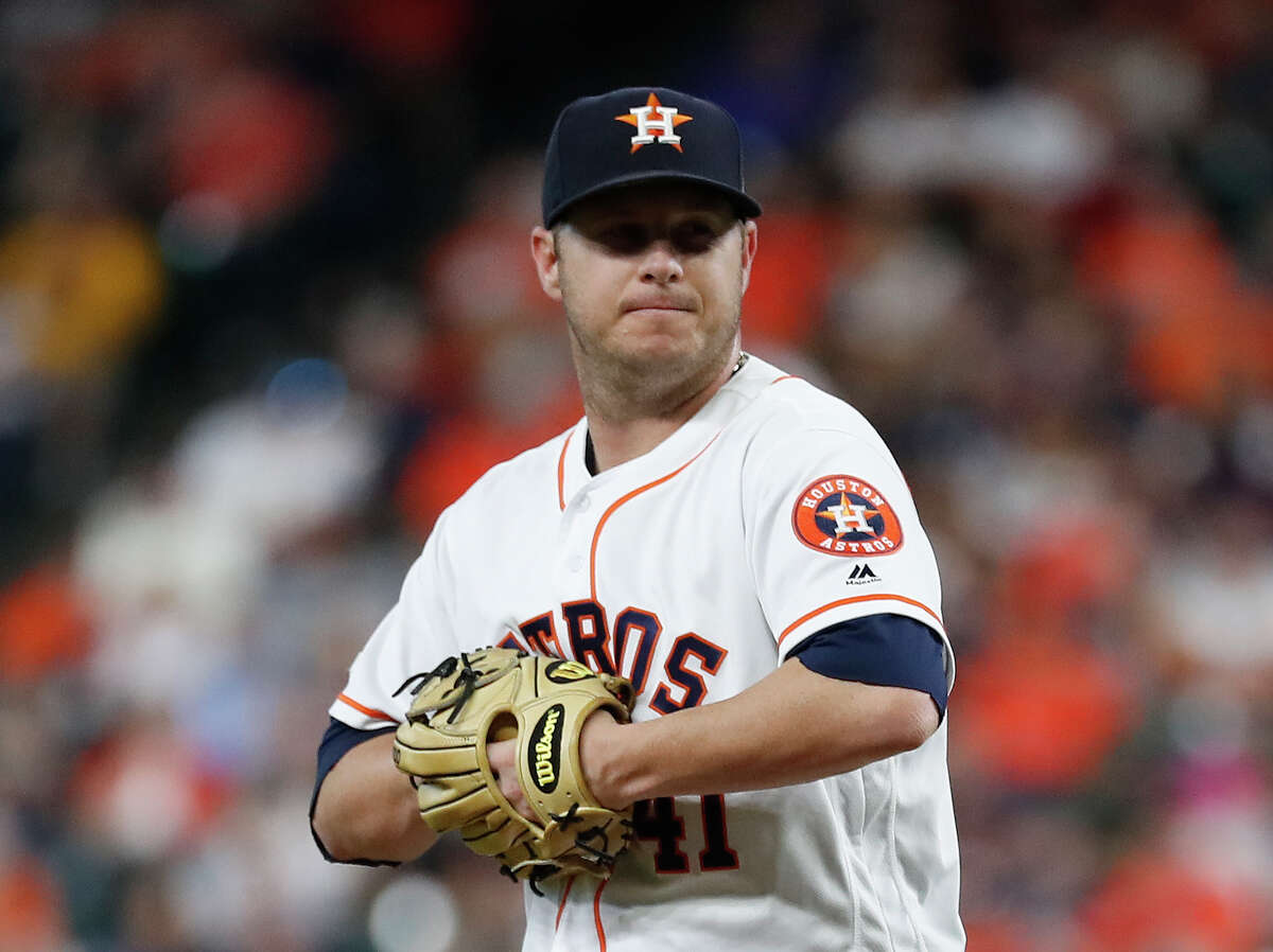PHOTOS: 2019 Astros game-by-game Houston Astros starting pitcher Brad Peacock (41) reacts after giving up a double to Pittsburgh Pirates Colin Moran during the first inning of an MLB baseball game at Minute Maid Park, Thursday, June 27, 2019, in Houston. >>>See how the Astros have fared in each game this season ...