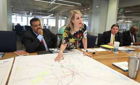 Carrin Patman, chairwoman of Metro points to a MetroNext map during a meeting at the Houston Chronicle on Jan. 10.