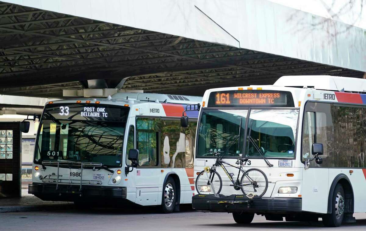 Metro buses are shown at the Northwest Transit Center in Houston.