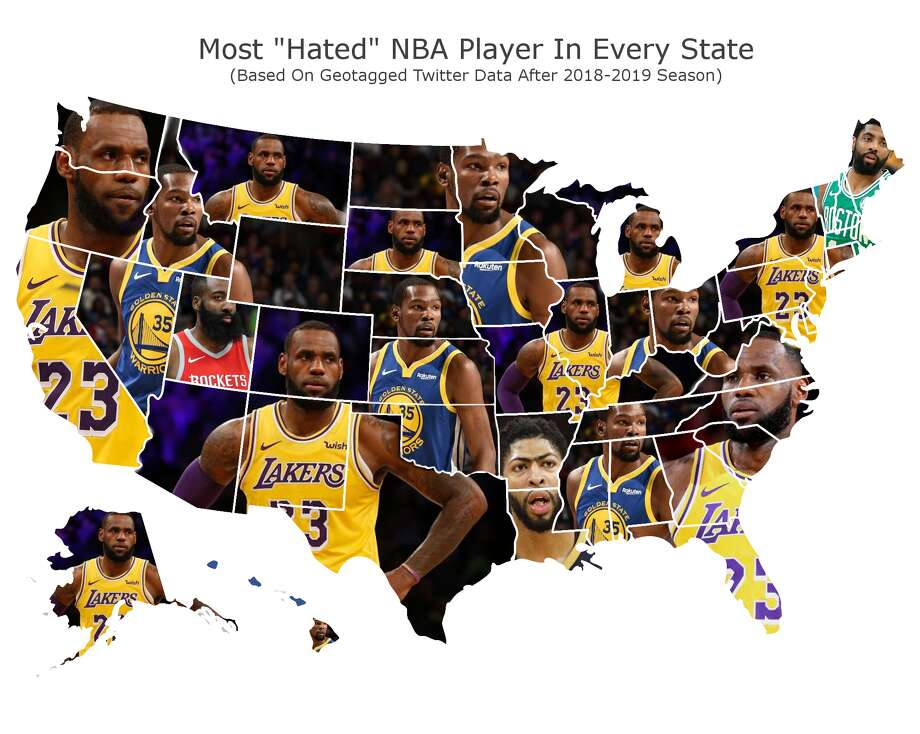 "This map is a representation of geotagged tweets where people said they either ""hated"" or ""disliked"" a specific NBA player. According to an analysis done by sportsinsider.com, Golden State Warrior Kevin Durant is the second most hated player in the NBA after LeBron James. Photo: Courtesy Of Sportsinsider.com"