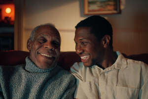 """This photo provided by A24 shows Danny Glover, left, starring as Grandpa Allen and Jonathan Majors, right, as Montgomery Allen in """"The Last Black Man in San Francisco"""", an A24 release. (Photo Courtesy of A24 via AP)"""