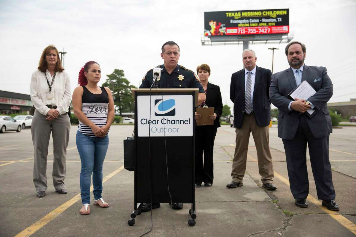 Chief Deputy Edison Toquica, speaks at a press event launching a month-long effort between Texas Center for the Missing and Clear Channel Americas to help generate leads in the case of missing teen Evanegelys Colon in Humble, Thursday, June 27, 2019.