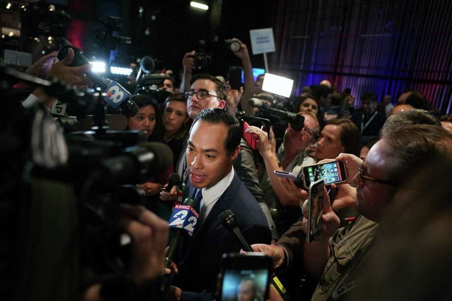 Former Housing Secretary Julian Castro speaks to reporters after the close of the first Democratic presidential debate in Miami on Wednesday night, June 26, 2019.  (Doug Mills/The New York Times) Photo: DOUG MILLS, STF / NYT / NYTNS