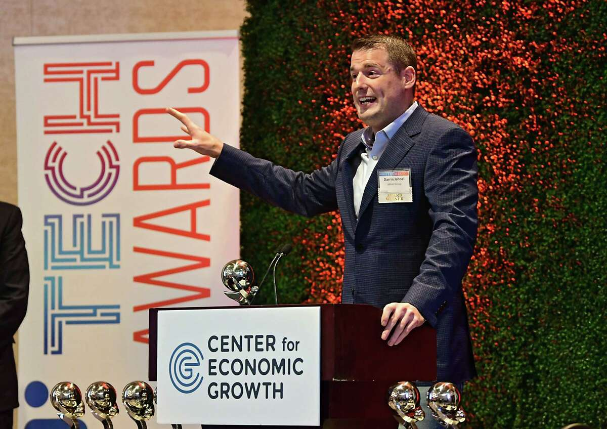 Darrin Jahnel, CEO Jahnel Group, gives a speech after receiving the Lift Off Award during the Center for Economic Growth 23rd Annual Technology Awards held at Rivers Casino Resort on Thursday, June 27, 2019 in Schenectady, N.Y. Lori Van Buren/Times Union)