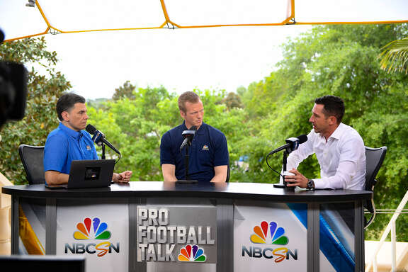 Chris Simms, center, pictured here with Pro Football Talk colleague Mike Florio and 49ers coach (and former Texas teammate) Kyle Shanahan, has seen his profile as an NFL analyst rise in recent years.