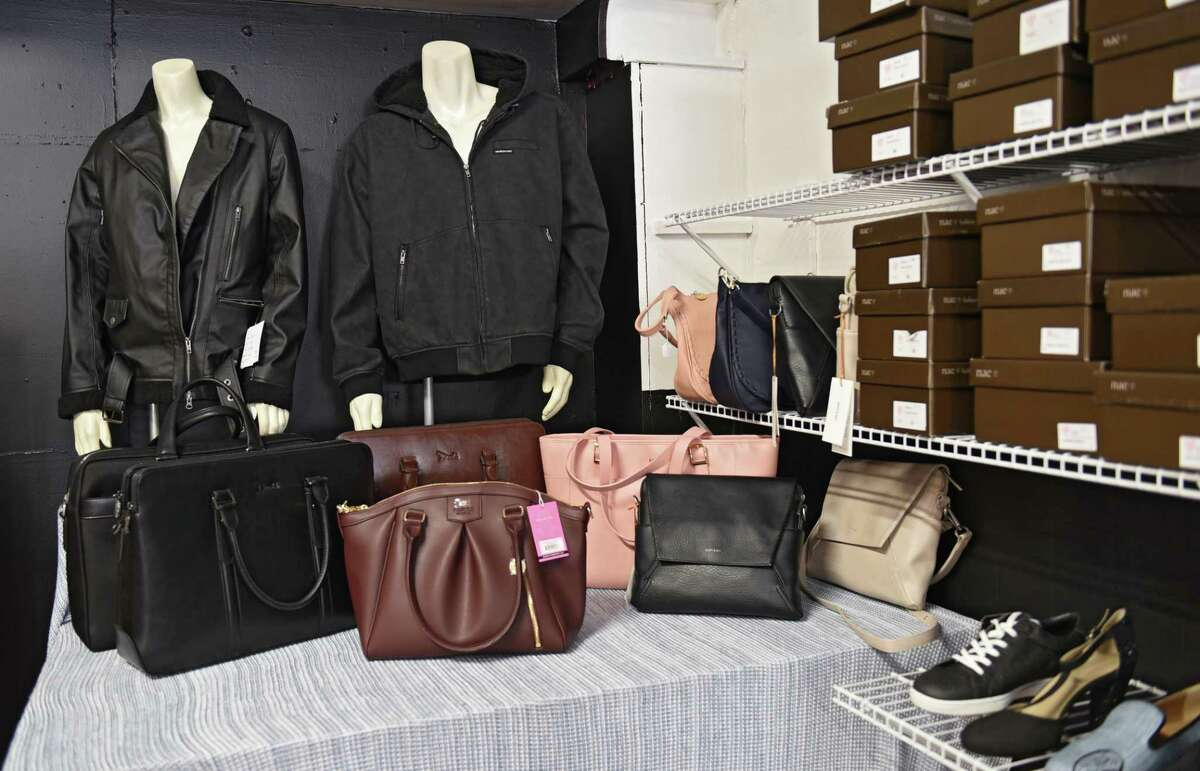 Shoes, bags and jackets for sale in The Vegan Outfitter on Thursday, June 27, 2019 in Troy, N.Y. This is the only vegan shop in the Capital Region and carries high quality, cruelty-free shoes, jackets, belts, handbags, wallets and more. (Lori Van Buren/Times Union)