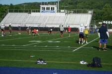 Players and coaches from Team Constitution practice on Thursday, June 27, 2019, at Plainville (Conn.) High for the Super 100 Classic, scheduled for Saturday, June 29, at Veterans Stadium in New Britain, Conn.