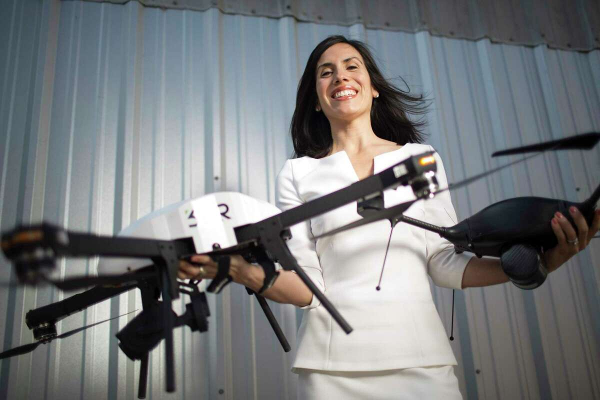 The veteran-focused investment group 1836 made an early investment in Trumbull Unmanned, which integrates unmanned aircraft systems (drones) into the oil and gas industry to increase safety and operational efficiency. It's owned by Dyan Gibbens, a U.S. Air Force veteran. She participated in the Veterans Business Battle, where veterans pitch their business ideas to a panel of investors at Rice University. Feb. 26, 2015 in Houston. (Eric Kayne/For the Chronicle)