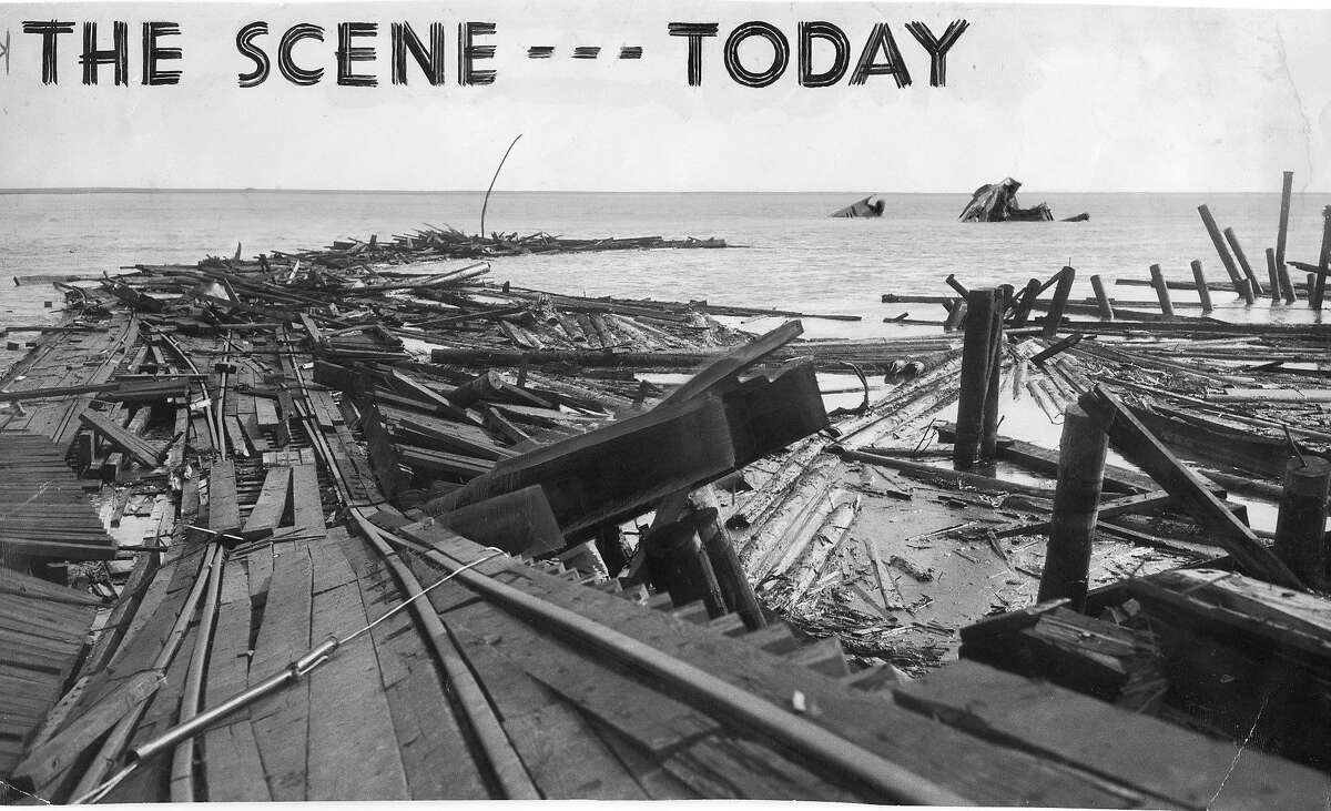 The site of the Port Chicago munitions explosion , July 18, 1944 All that remains of the two ammunition ships are bits of wreckage in the water ... in the foreground is the shattered remains of the dock and it's railroad equipment and installations Photo ran 07/19/1944, p. 8