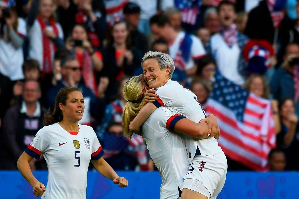 United States' midfielder Lindsey Horan (C) celebrates with United States' forward Megan Rapinoe (R) after scoring a goal during the France 2019 Women's World Cup Group F football match between Sweden and USA, on June 20, 2019, at the Oceane Stadium in Le Havre, northwestern France. (Photo by Damien MEYER / AFP)DAMIEN MEYER/AFP/Getty Images