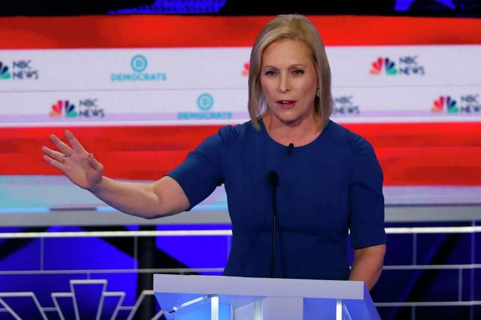 Democratic presidential candidate Sen. Kristen Gillibrand, D-N,Y., speaks during the Democratic primary debate hosted by NBC News at the Adrienne Arsht Center for the Performing Art, Thursday, June 27, 2019, in Miami.