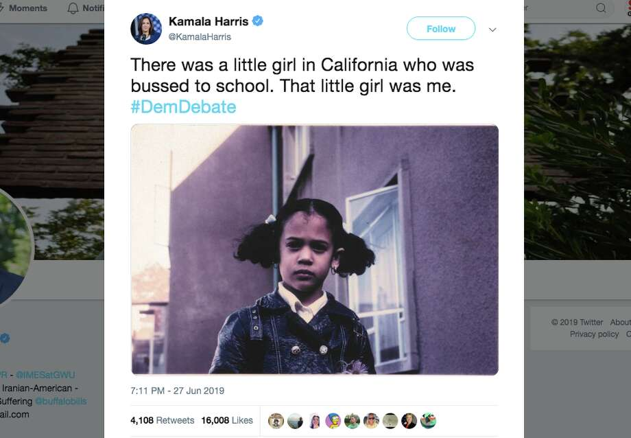 U.S. Senator Kamala Harris, who challenged Former Vice President Joe Biden on issues like immigration and school busing, was praised by many for her performance during the second night of the first Democratic debate. Photo: Screenshot Via Twitter
