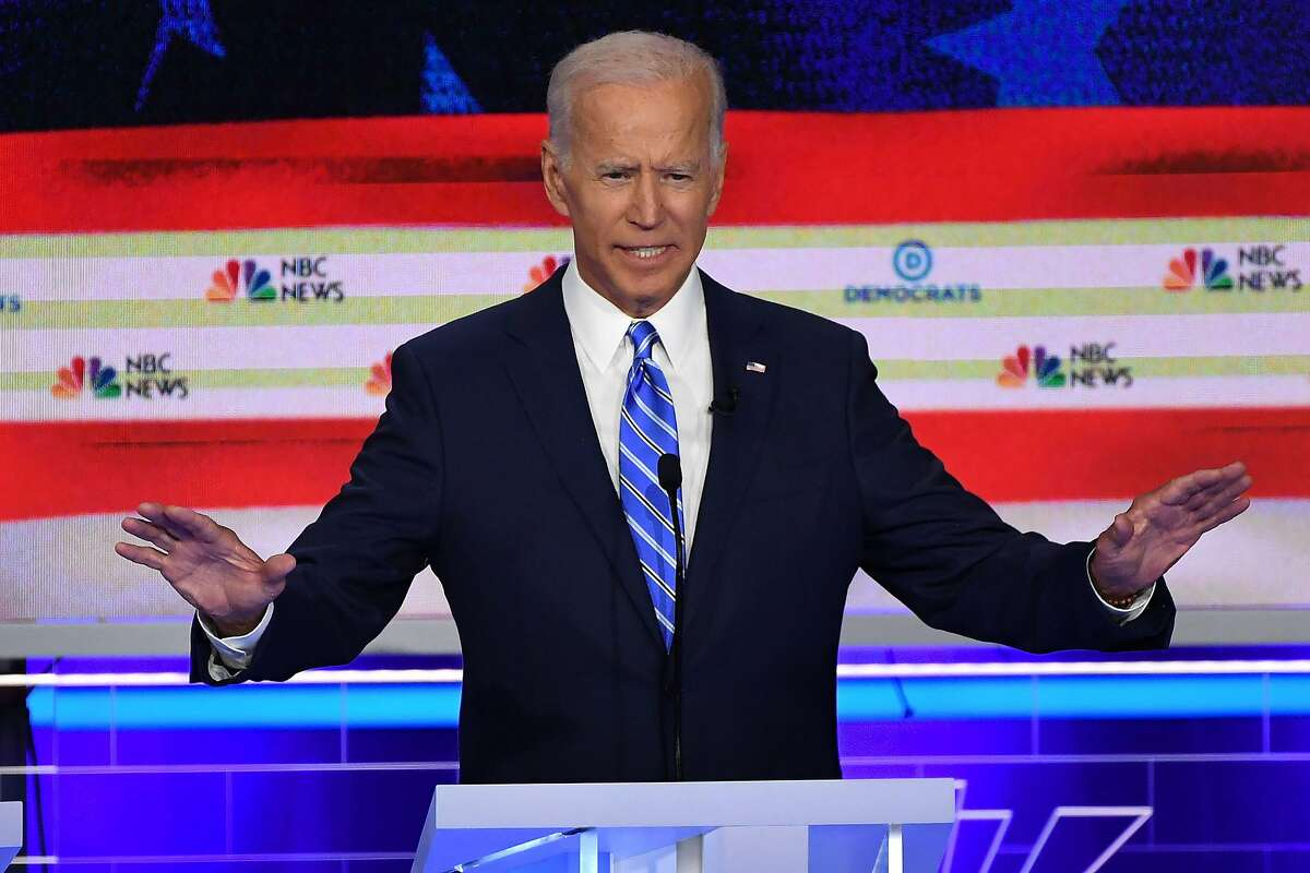 Democratic presidential hopeful former US Vice President Joseph R. Biden Jr. speaks during the second Democratic primary debate of the 2020 presidential campaign season hosted by NBC News at the Adrienne Arsht Center for the Performing Arts in Miami, Florida, June 27, 2019. (Photo by SAUL LOEB / AFP)SAUL LOEB/AFP/Getty Images