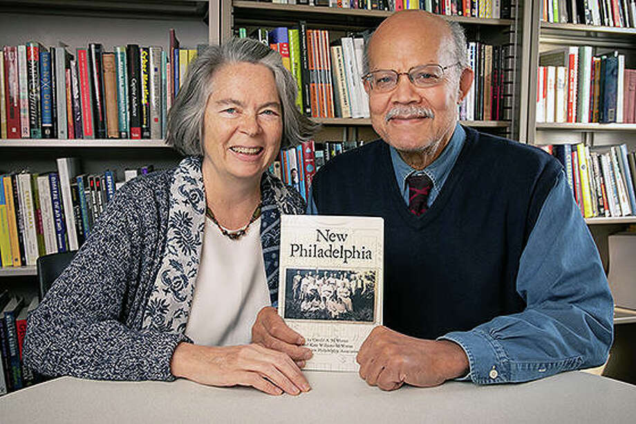Kate Williams (left) and Gerald McWorter will discuss the Pike County settlement of New Philadelphia at 10 a.m. Saturday in Alton and at 2 p.m. Sunday in Edwardsville. Photo: Photo Provided