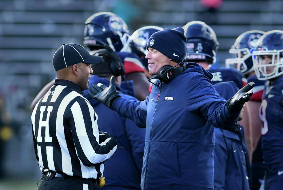 Connecticut head coach Randy Edsall pleads with an official during a time out in the second half of an NCAA college football game against SMU on Nov. 10. Photo: Stephen Dunn / Associated Press / Copyright 2018 The Associated Press. All rights reserved