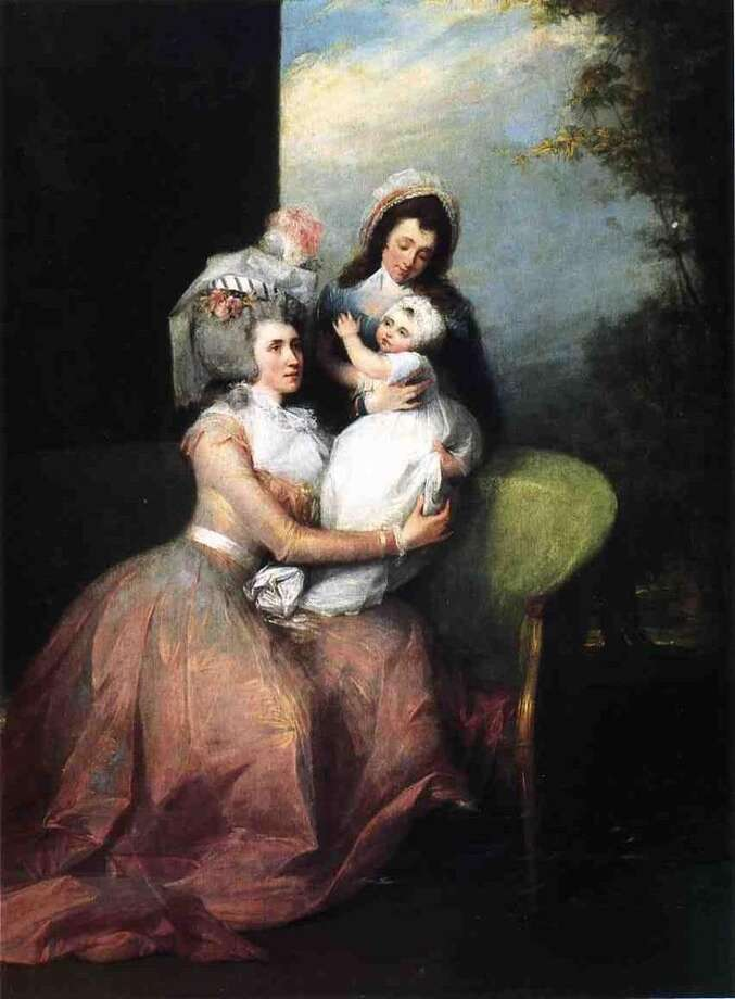 """The main image from the Albany Institute's """"Schuyler Sisters"""" exhibit: Angelica Schuyler Church, Child and Servant  By John Trumbull (1756-1843)  Oil on canvas, 1784  Private Collection"""