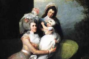 "The main image from the Albany Institute's ""Schuyler Sisters"" exhibit: Angelica Schuyler Church, Child and Servant  By John Trumbull (1756-1843)  Oil on canvas, 1784  Private Collection"
