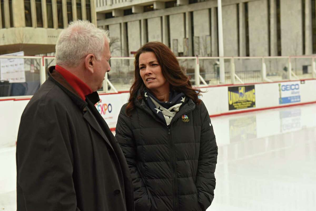 Two-time Olympic figure skating medalist Nancy Kerrigan talks to her husband Jerry Solomon before speaking at a special appearance at the Empire State Plaza on Thursday, Feb. 7, 2019 in Albany, N.Y. (Lori Van Buren/Times Union)