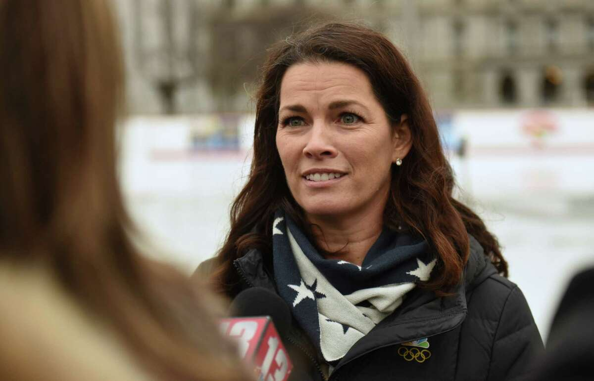 Two-time Olympic figure skating medalist Nancy Kerrigan talks about the upcoming Aurora Games during a special appearance at the Empire State Plaza on Thursday, Feb. 7, 2019 in Albany, N.Y. Kerrigan serves as the Figure Skating Chair on the Aurora Games Advisory Board. (Lori Van Buren/Times Union)