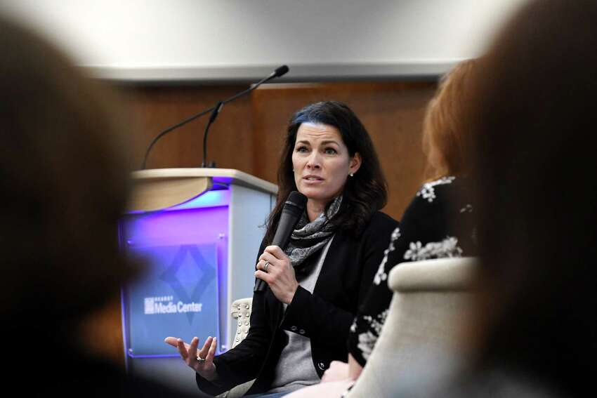 Two-time Olympic figure skating medalist Nancy Kerrigan speaks at the Hearst Media Center on Thursday, Feb. 7, 2019, in Colonie, N.Y. Her appearance was in support of the upcoming Aurora Games, an all-womenOs multi-sport competition and entertainment festival that will be held in Albany this August. (Will Waldron/Times Union)