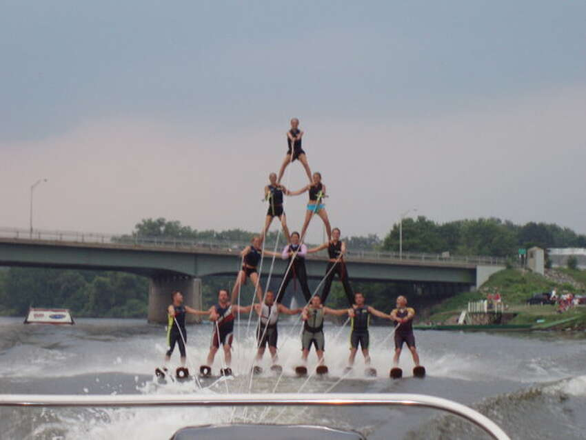 A pyramid of skiers, with Casey Gunning in the middle with purple sleeves. (Provided)