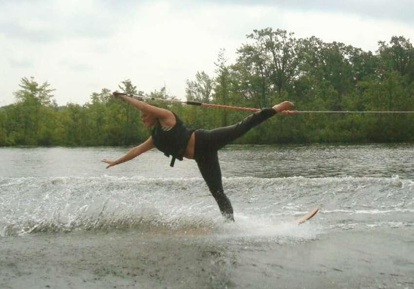 Casey Gunning swiveling on skis. (Provided)