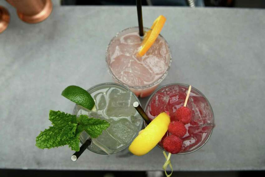 Clockwise from top: blood orange margarita, virgin raspberry lemonade, and a champaign mojito are seen on the Patio at 15 Church are seen on Friday, May 24, 2019 in Saratoga Springs, N.Y. (Jenn March, Special to the Times Union )