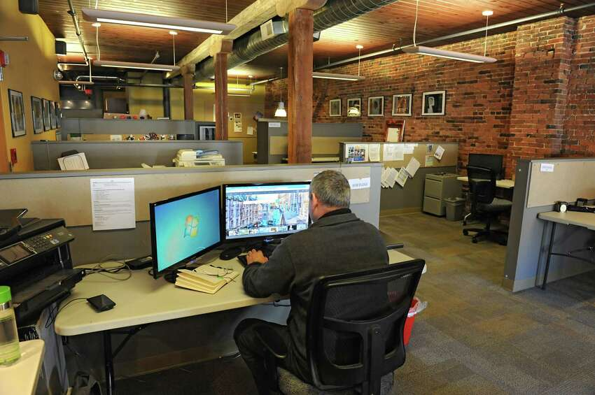 Engineer Bob Floge of KDW-Salas O'Brien works at Beahive, a coworking space located on Broadway in Albany, N.Y. Read more