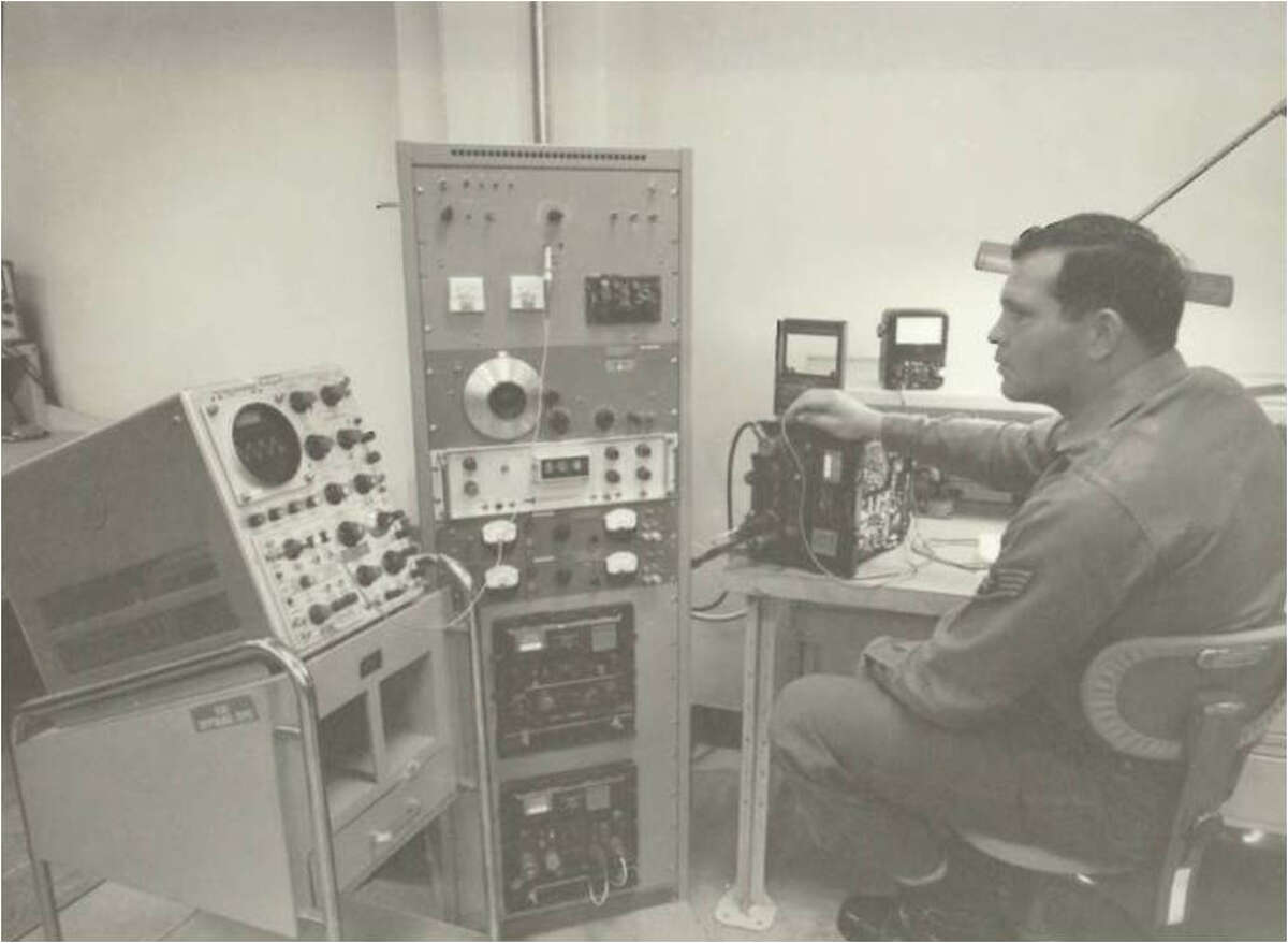 """""""A U.S. Air Force Staff Sgt. assigned to the Air Force Cryptologic Depot, a unit of the U.S. Air Force Security Service, today the Twenty-Fifth Air Force, performs tests on a piece of communications security equipment at Kelly, Air Force Base, Texas, 1969."""""""