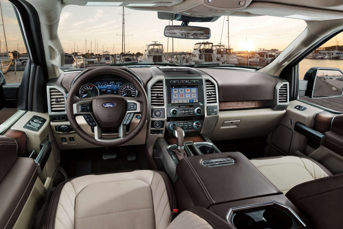 The top-of-the-line F-150 Limited has a suede headliner, leather-trimmed instrument and door panels, and hand-finished ash swirl trim. Also new is an available soft two-tone leather Ford calls Camel Back.