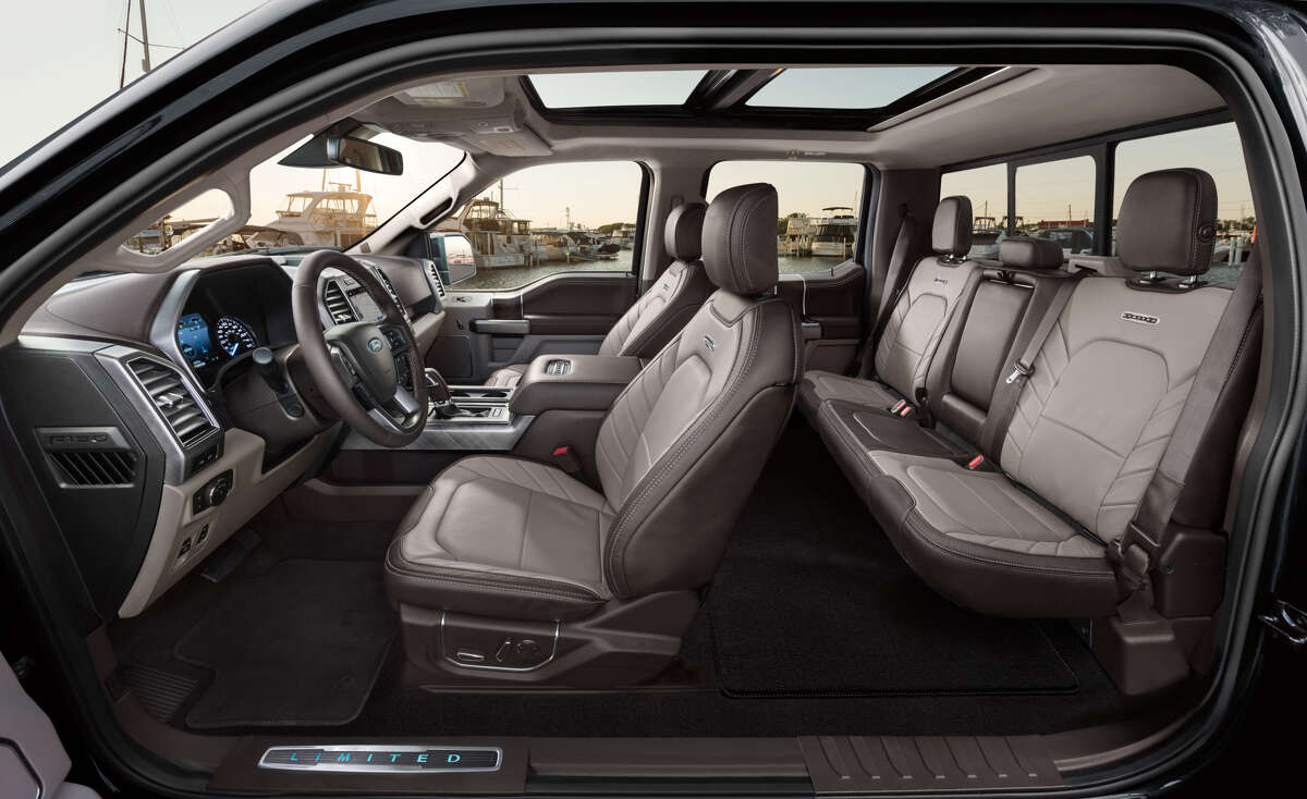 Ford's 2019 F-150 Limited has a large dual-panel moonroof and seats with larger perforations for better cooling.