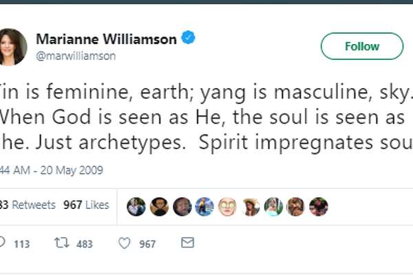 Yin is feminine, earth; yang is masculine, sky. When God is seen as He, the soul is seen as She. Just archetypes. Spirit impregnates soul. Twitter account: ‏@marwilliamson