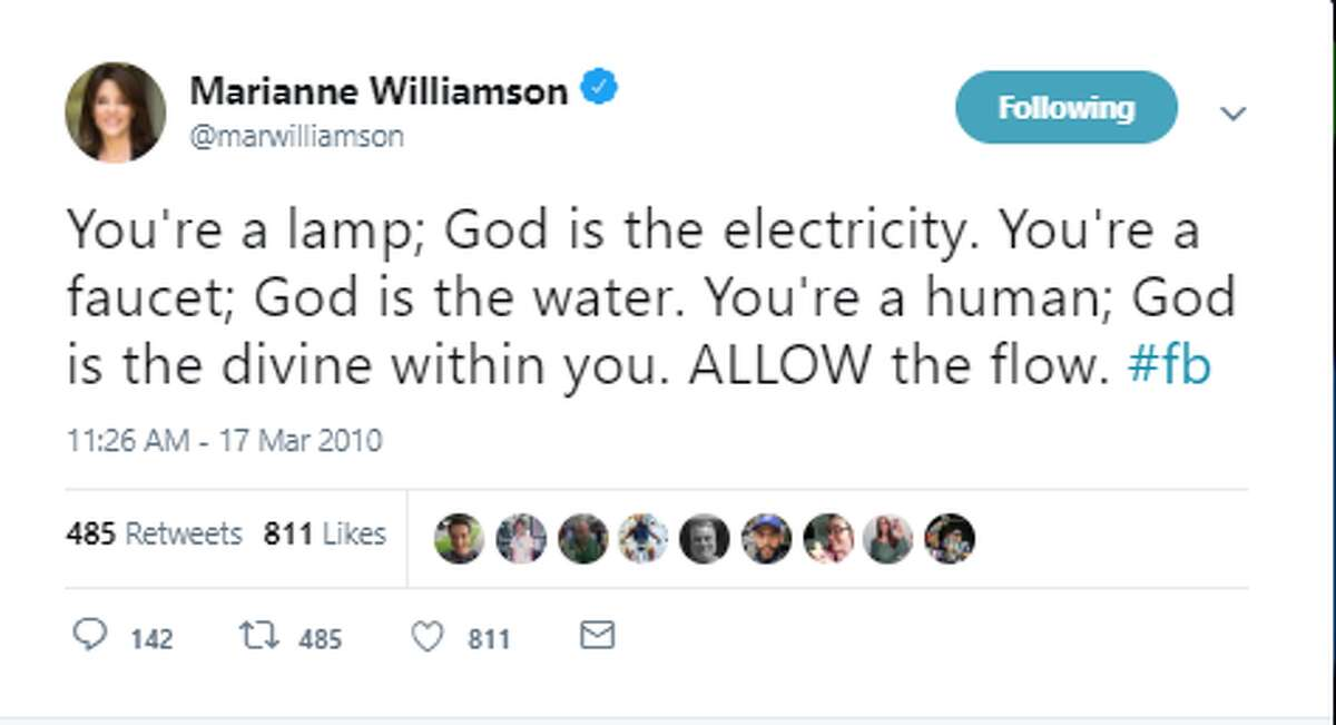 You're a lamp; God is the electricity. You're a faucet; God is the water. You're a human; God is the divine within you. ALLOW the flow. #fb Twitter account: @marwilliamson Official Marianne Williamson Twitter account >>>Click through to see some previous remarks by Democratic presidential candidate and Houston native Marianne Williamson.