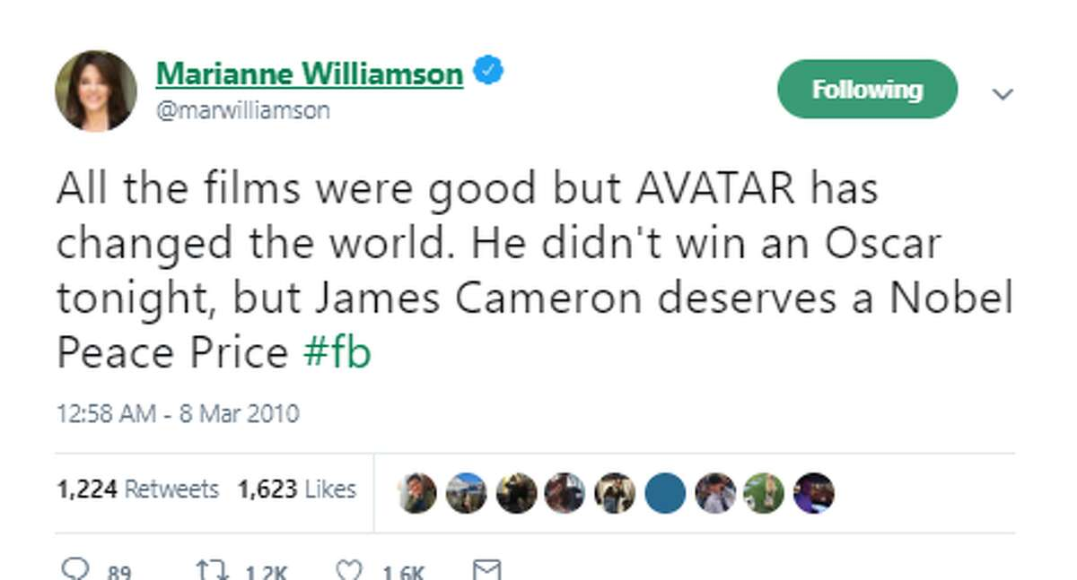 All the films were good but AVATAR has changed the world. He didn't win an Oscar tonight, but James Cameron deserves a Nobel Peace Price #fb Twitter account: @marwilliamson Official Marianne Williamson Twitter account