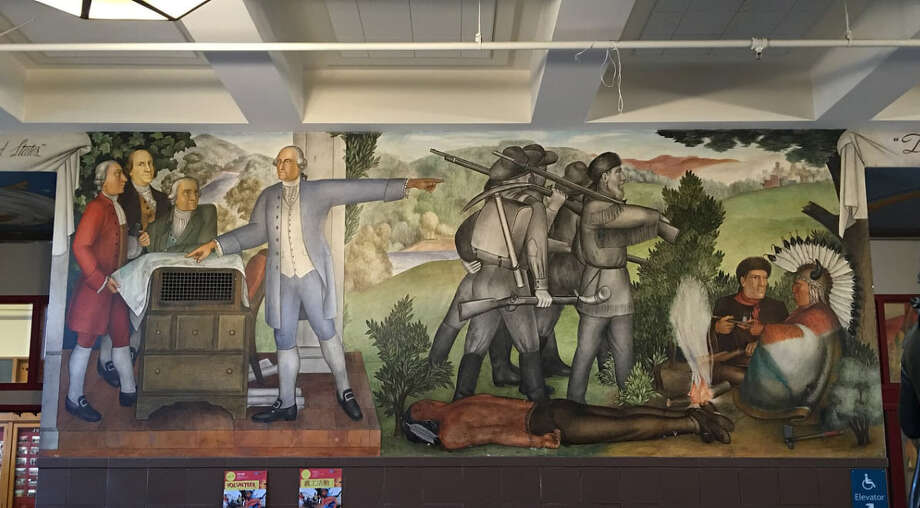 The San Francisco Board of Education voted to remove this mural from a city high school. Photo: Tammy Aramian/Washington High School Alumni Association. / The Washington Post