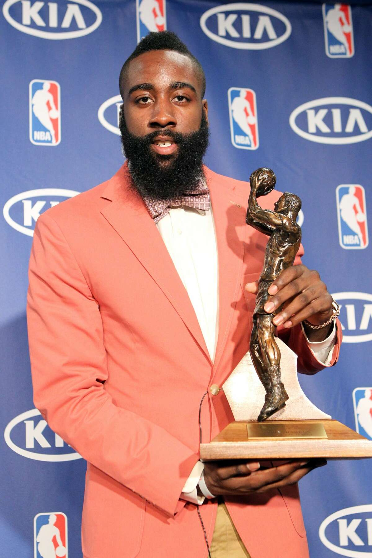 OKLAHOMA CITY, OK - MAY 10: The Oklahoma City Thunder's James Harden is the winner of the 2011-12 Kia NBA Sixth Man Award as the leagues best player in a reserve role, the NBA announced on May 10, 2012 at the Chesapeake Energy Arena in Oklahoma City, Oklahoma. Harden, who led all NBA reserves in scoring (16.8 ppg), came off the bench in 60 of 62 games he appeared in, helping Oklahoma City finish with the NBA's third-best record (47-19). (Photo by Layne Murdoch/NBAE via Getty Images)
