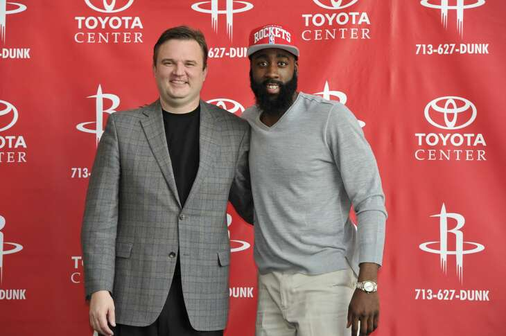 HOUSTON, TX - OCTOBER 29: General Manager Daryl Morey and James Harden of the Houston Rockets poses for a photo as Harden is introduced to the media on October 29, 2012 at Toyota Center in Houston, Texas. NOTE TO USER: User expressly acknowledges and agrees that, by downloading and/or using this photograph, user is consenting to the terms and conditions of the Getty Images License Agreement.  Mandatory Copyright Notice: Copyright 2012 NBAE (Photo by Bill Baptist/NBAE via Getty Images)