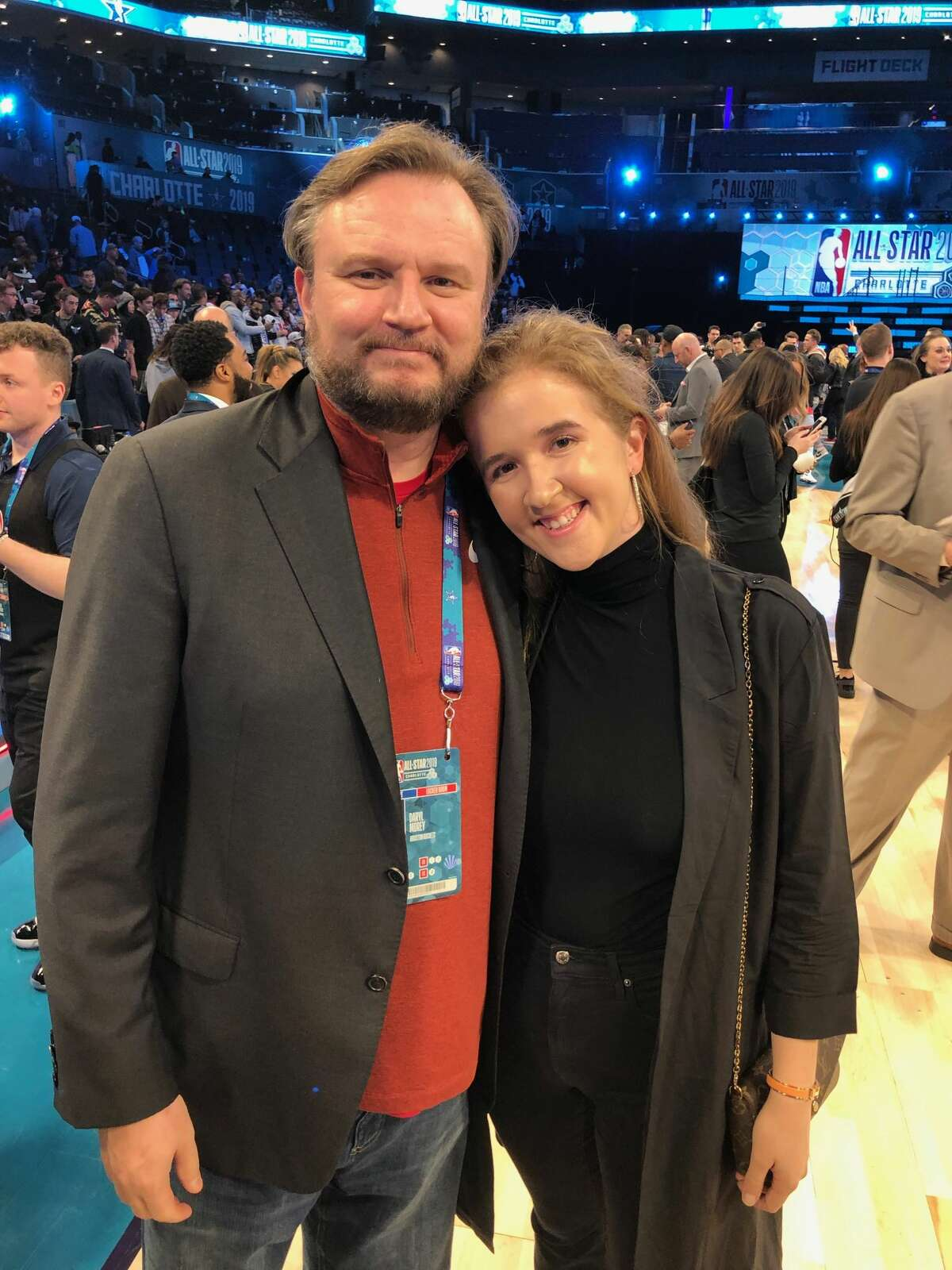Daryl Morey with his daughter, Karen Morey.