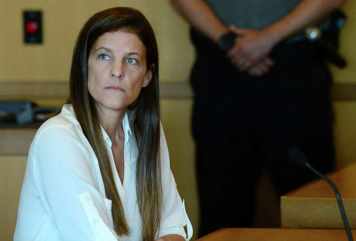 Michelle Troconis attends a hearing with her attorney Andrew Bowman to address travel concerns following her arrest in the disappearance of Jennifer Dulos, her boyfriend's wife, in state Superior Court in Stamford on Friday, June 28, 2019.