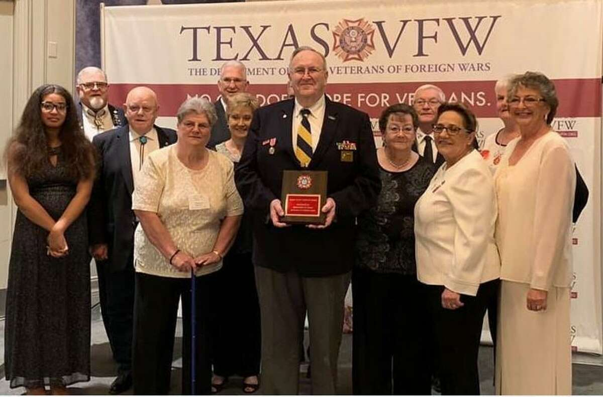Katy Veterans of Foreign Wars Post 9182 received the National Community Service Award for 2018-19 at the Texas VFW State Convention. Post Commander Don Byrne holds the award.