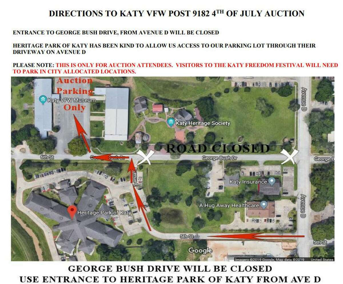 The Katy Veterans of Foreign Wars Post 9182 will hold its silent and live auctions on July 4, in addition to serving lunch. George Bush Drive will be closed. Visitors can access the post through the entrance to Heritage Park of Katy from Avenue D.