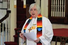 Rev. Pat Kriss, pastor of the First Congregational Church of Danbury, speaks during a vigil in Danbury in 2016 to honor those killed in the nightclub shooting in Orlando, Fl.