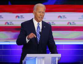 Democratic presidential candidate former Vice-President Joe Biden, speaks during the Democratic primary debate hosted by NBC News at the Adrienne Arsht Center for the Performing Art, Thursday, June 27, 2019, in Miami. (AP Photo/Wilfredo Lee)