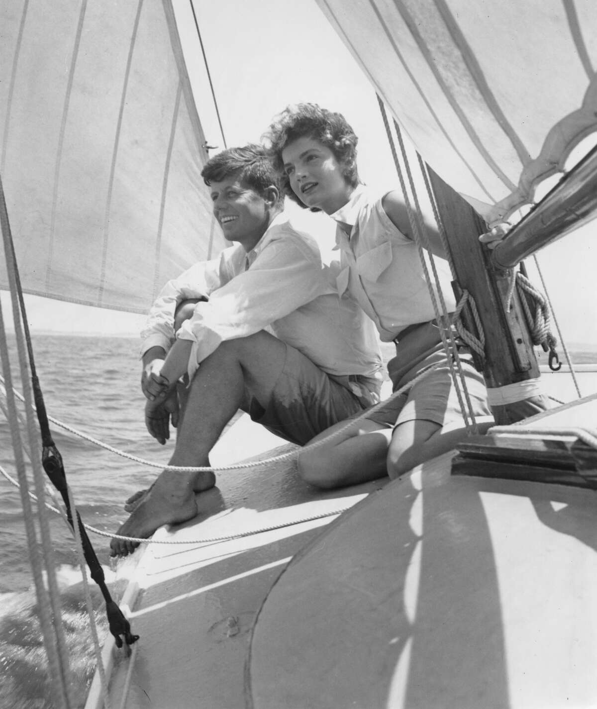 The Martha's Vineyard estate of former first lady Jacqueline Kennedy Onassis is on the market for $65 million. JUNE 1953: Senator John F. Kennedy and fiance Jacqueline Bouvier go sailing while on vacation at the Kennedy compound in June 1953 in Hyannis Port, Massachusetts. (Photo by Hy Peskin/Getty Images)